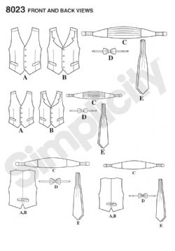 8023 Simplicity Pattern: Boys' and Men's Waistcoat, Bow-tie, Cummerbund and Ascot